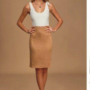 Lulu's Skirts - Lulus Tan Suede Pencil Skirt